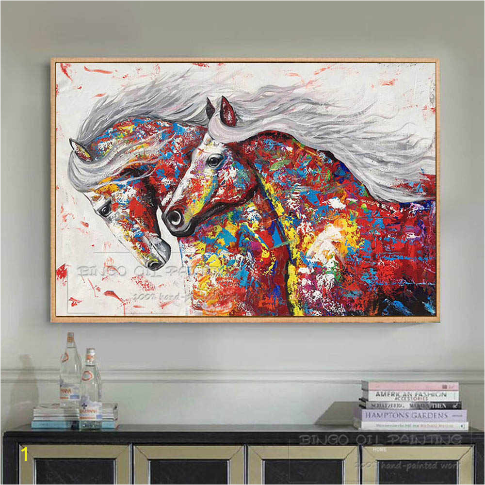 Artist Hand painted High Quality Modern Abstract Horse Oil Painting on Canvas Colorful Running Horse Oil q50