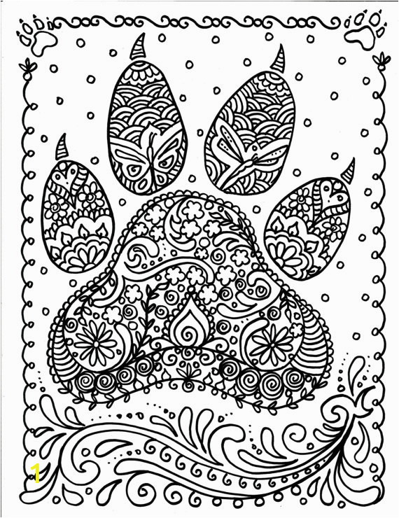 Hard Animal Coloring Pages Instant Download Dog Paw Print You Be the Artist by