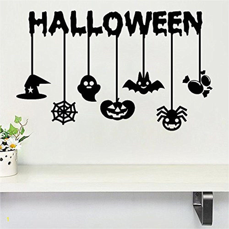 Haunted House Wall Mural Halloween Pumpkin Ghost Bat Spider Wall Decals Window