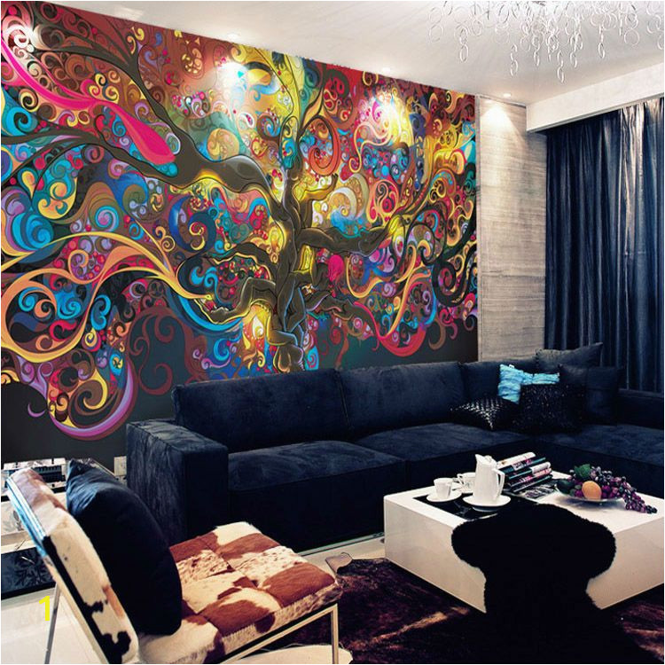 Haunted House Wall Mural Tree Of Life Wallpaper Psychedelic Wallpaper Custom 3d