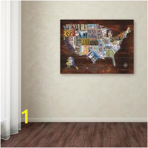 """Home Depot Canada Wall Murals 18 In X 24 In """"usa License Plate Map On Wood"""" by Masters Fine Art Printed Canvas Wall Art"""