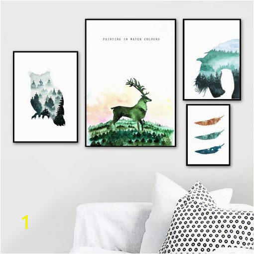 Owl Feather Horse Deer Forest Landscape Canvas Painting Wall Art Nordic Posters And Prints Wall 1 510x510