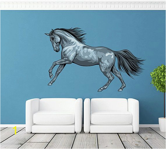 Horse themed Wall Murals Running Horse Wall Decals Gray Horse Decor Multicolor Horse