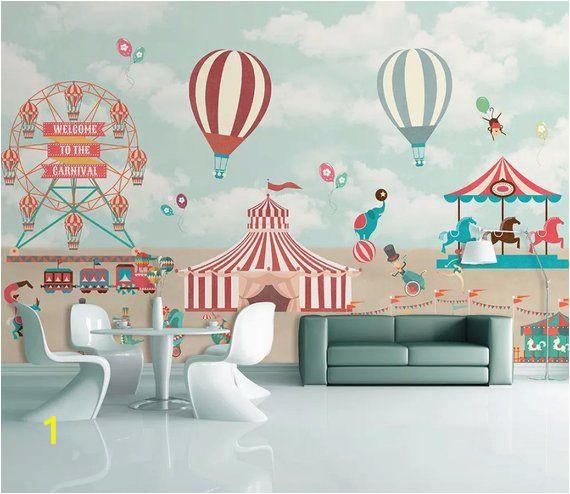 Hot Air Balloon Wall Mural Kids Wallpaper Red Circus Wall Mural Amusement Park Wall Art
