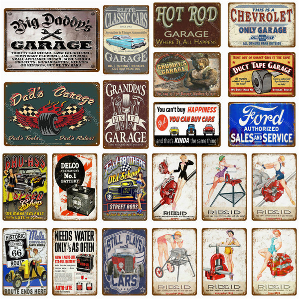 Hot Rod Garage Wall Murals 2019 Hot Rod Garage Decor Vintage Metal Tin Signs Classic Car Motor Battery tools Wall Art Plate Shabby Chic Painting Plaque From Boxx $2 59