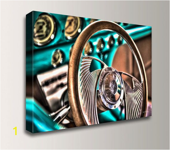 Hot Rod Garage Wall Murals Classic Car Steering Wheel Close Up Hdr Graphy