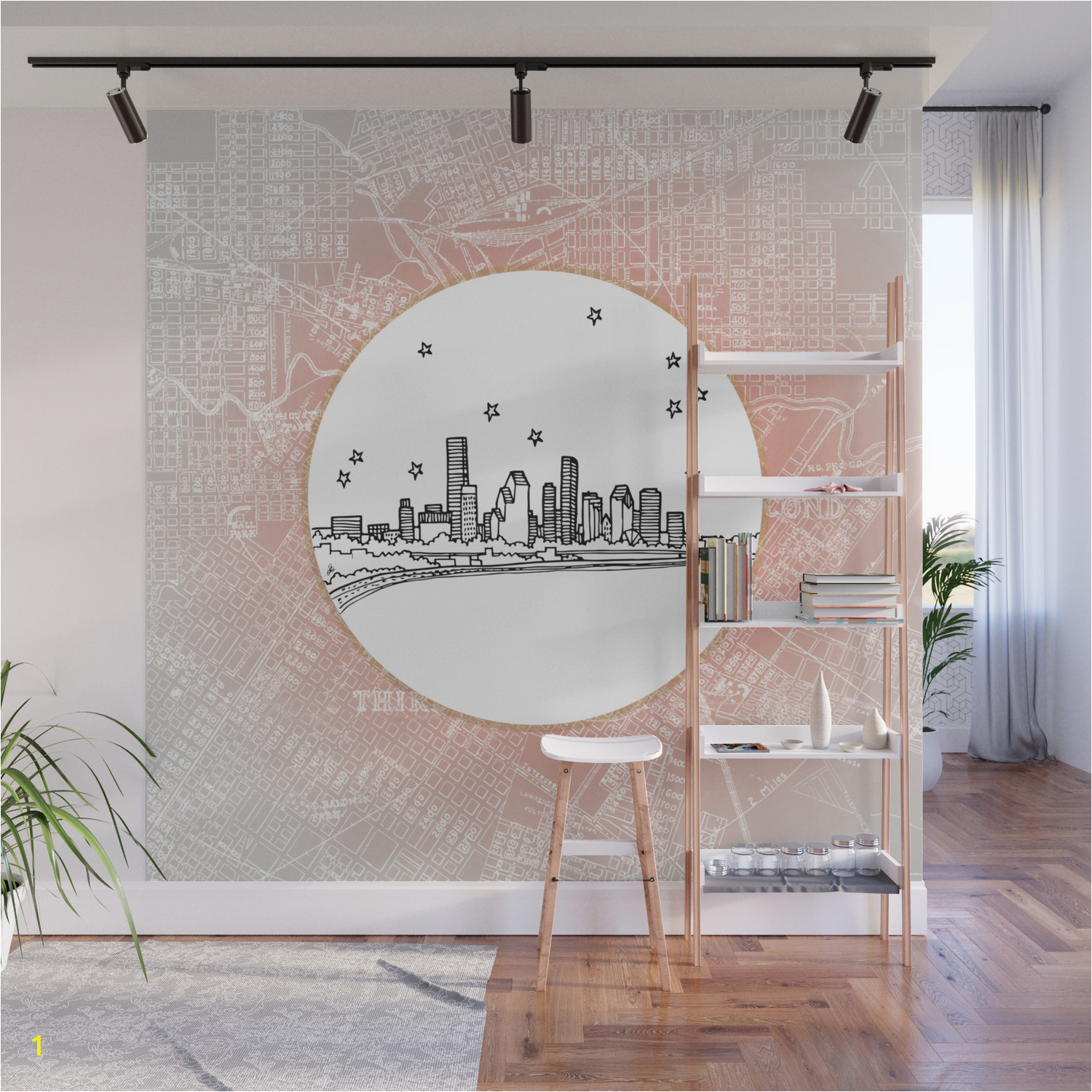 houston city skyline wall murals