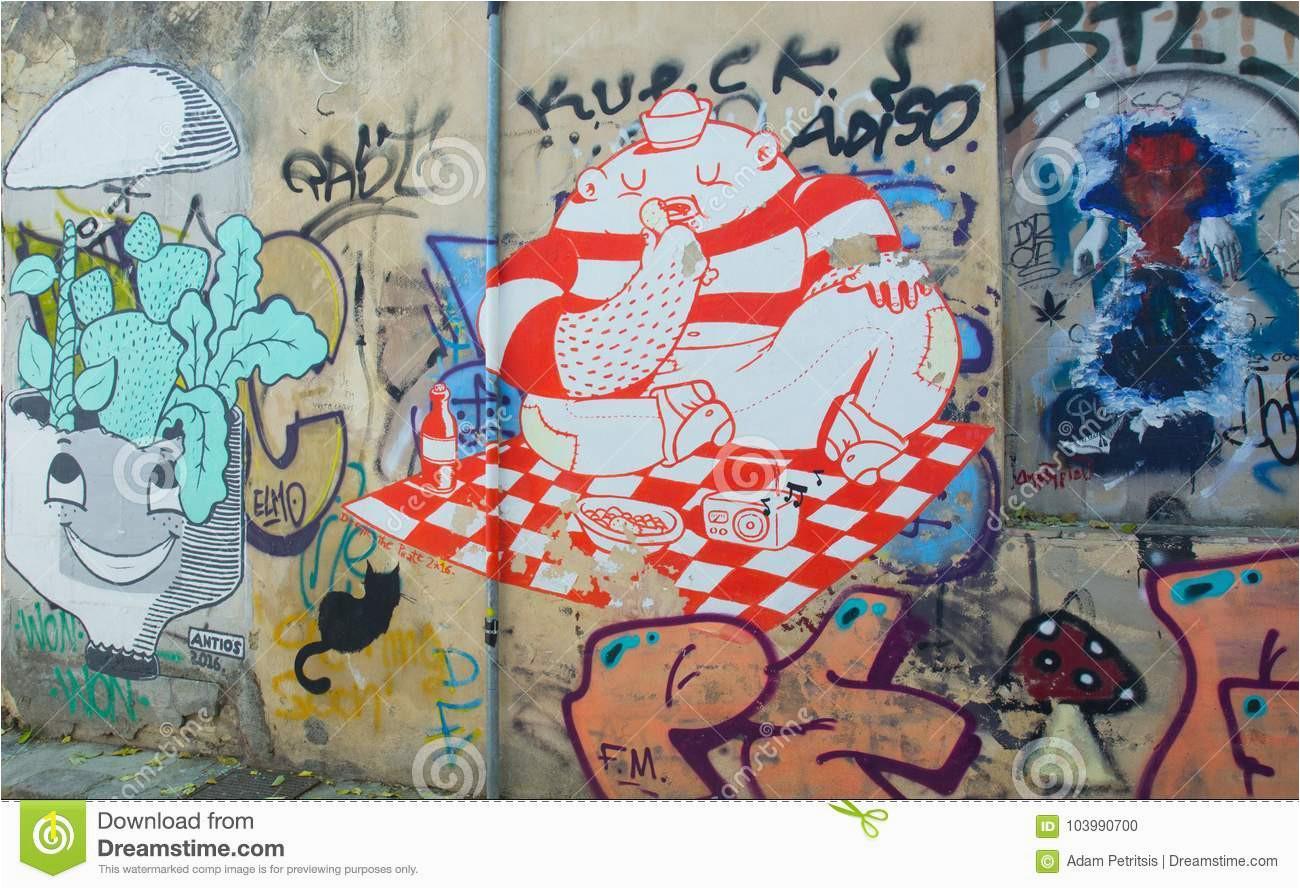 colorful graffiti small street plaka athens oin wall region greece
