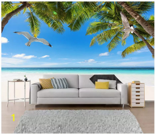 How to Paint A Beach Wall Mural Custom Wallpaper for Walls 3 D Murals Wallpaper Hd Seascape Beach Tree Living Room Landscape Painting Tv Background Wall Papers Decor