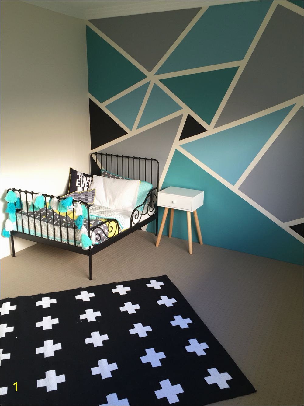 How to Paint A Geometric Wall Mural Pin On Kids Babies and Such