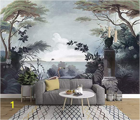 How to Paint On A Wall Mural Murwall Dark Trees Painting Wallpaper Seascape and Pelican