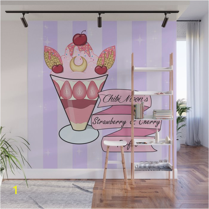 chibi moons strawberry parfait wall murals