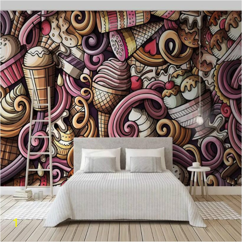 hand drawn cartoon ice cream 3D Wallpaper for Walls Cold drink restaurant tea bar KTV background