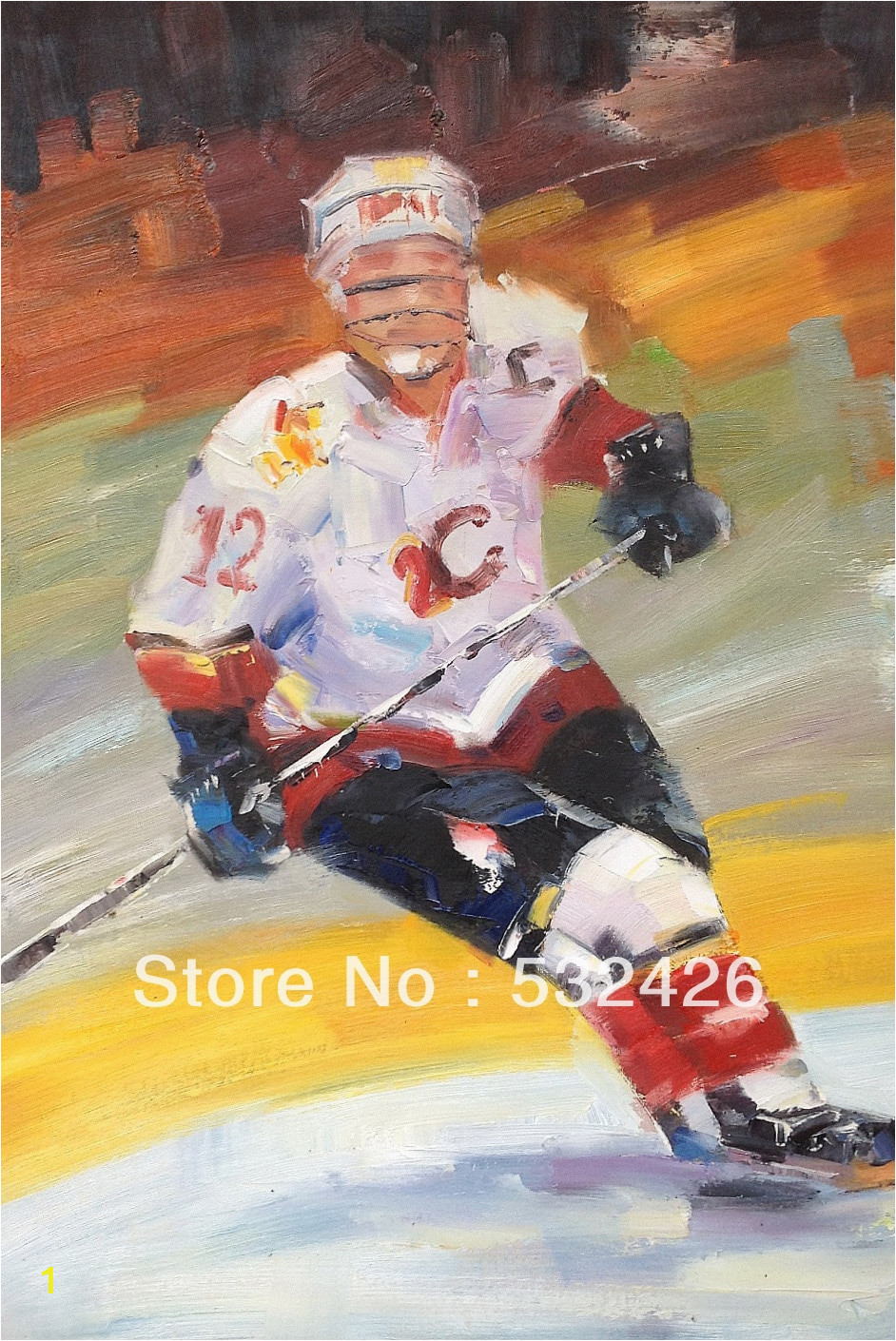 Ice Hockey Wall Murals Ice Hockey Player In Rink Sports 24×36 Handpainted Oil