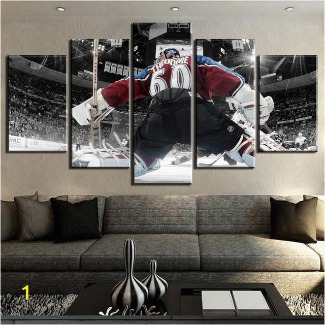 5 Piece Canvas Art Ice Hockey Goalkeeper Sport Modern Decorative Paintings on Canvas Wall Art for 640x640q70