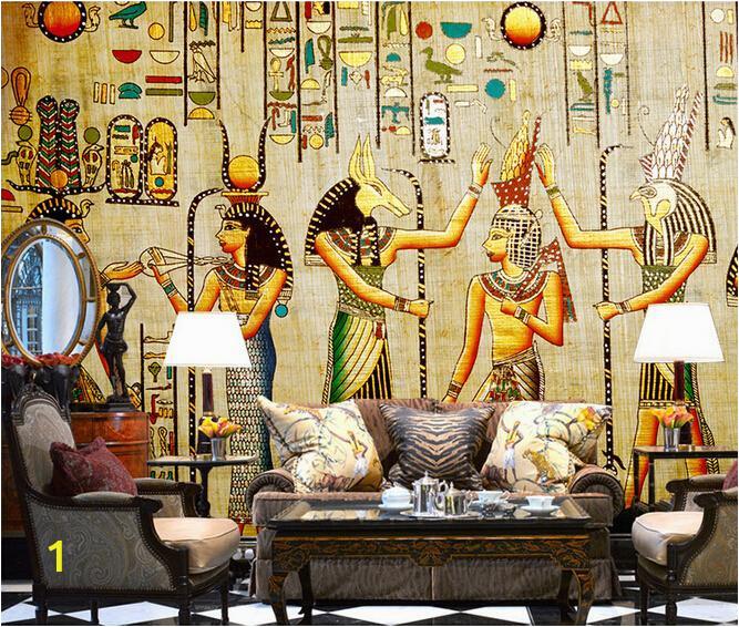 2015 New 1 sq m 3D Nonwoven Custom Mural Ikea Wallpaper Ancient Egypt Bar Panel