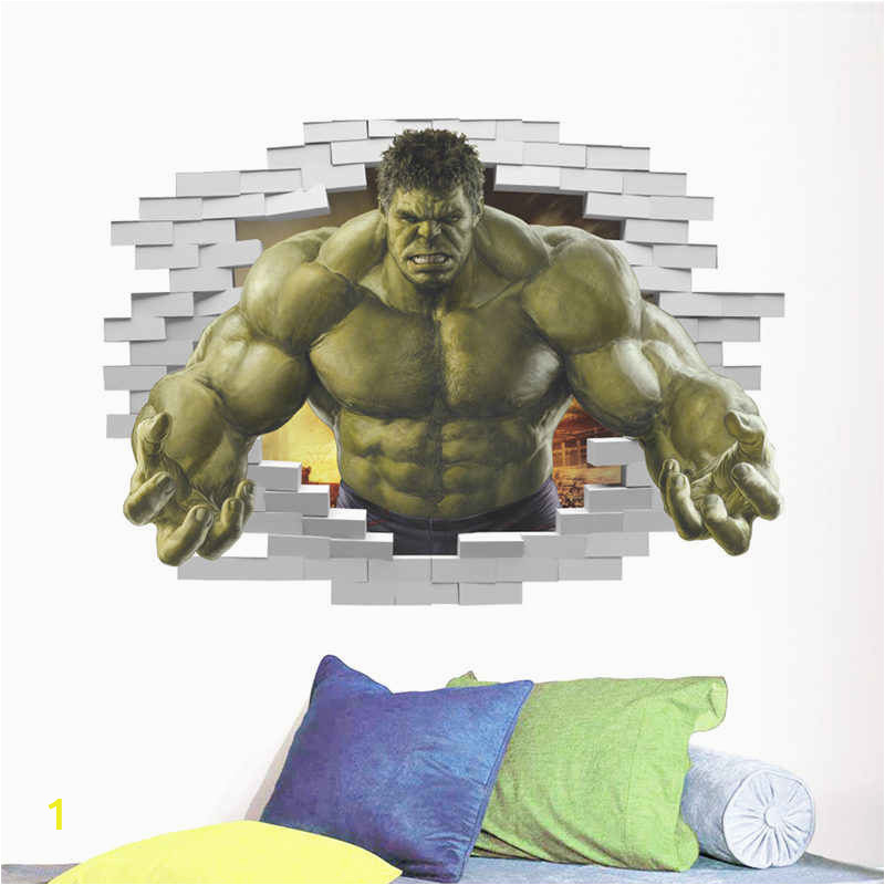 Powerful Hulk 3d Broken Hole Wall Stickers For Boys Room Decoration Avengers Super Hero Mural Art q50