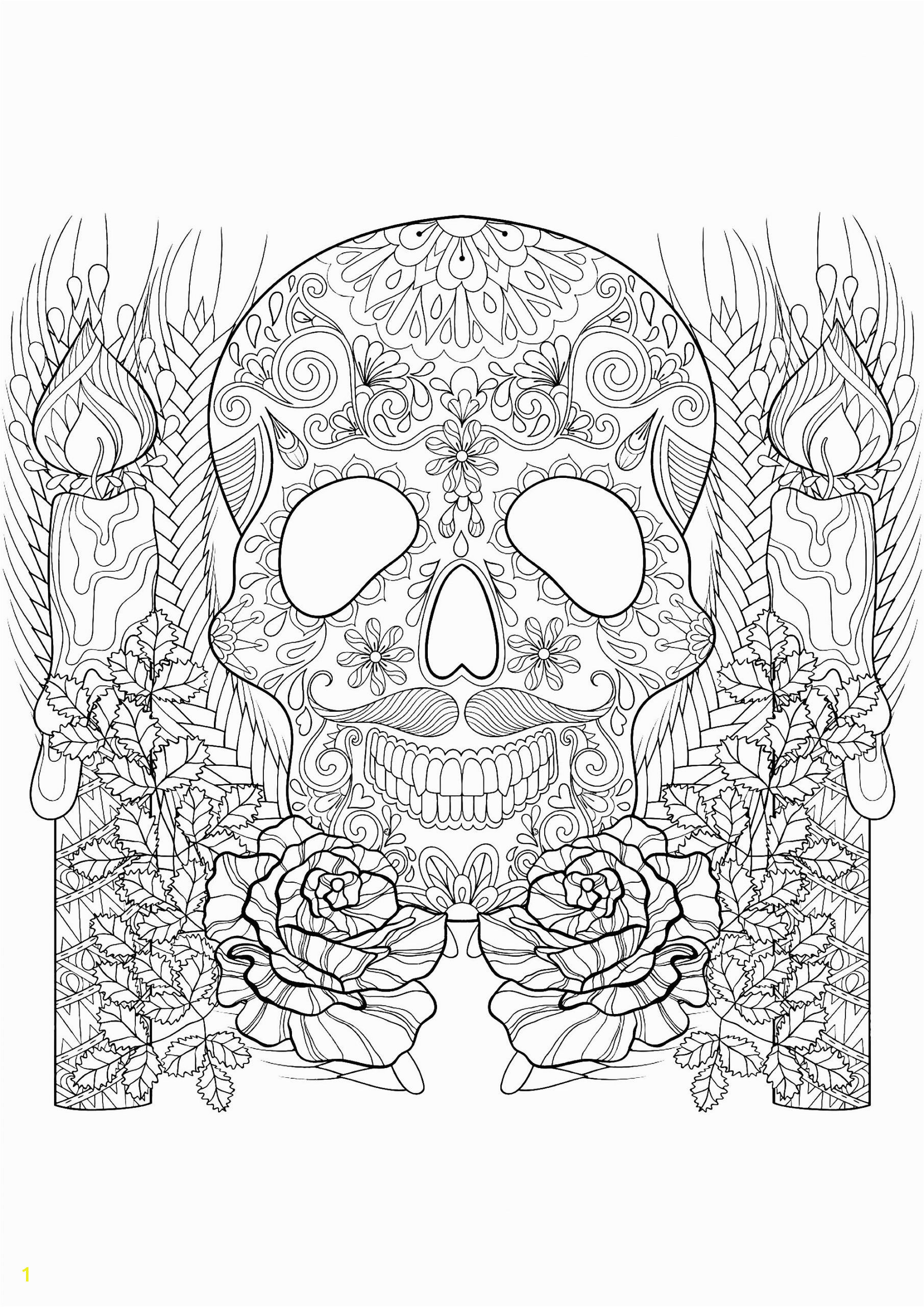 phenomenal skeleton coloring pages color page skull and candles for halloween adults crafts scaled
