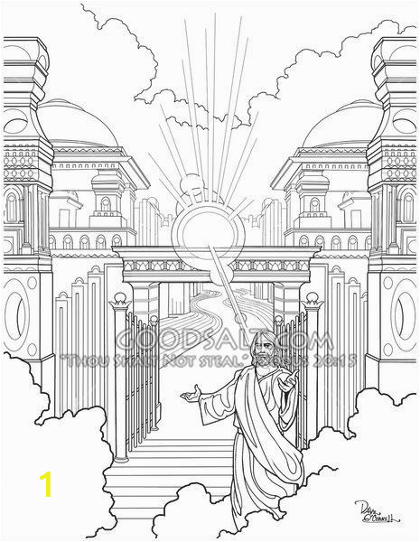 Jesus In Heaven Coloring Page Jesus at the Heavens Gate Wel Ing His Faithful Servant