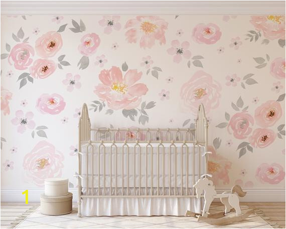 Jolie Floral Wall Mural Amara Floral Wallpaper Mural Watercolor Floral Traditional or Removable • Vinyl Free • Non toxic