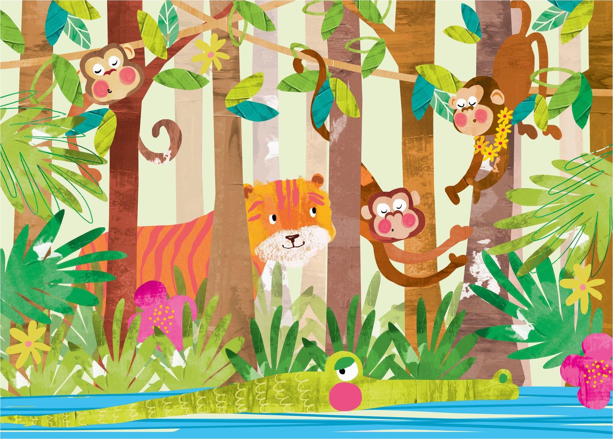 Jungle Animals Wall Mural Monkeys In 2019 Cartoon Animals Wall Murals