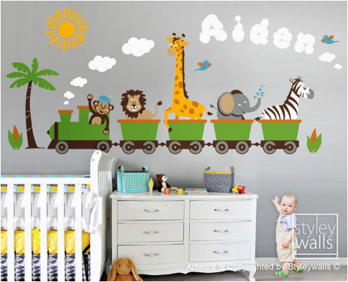 Jungle Safari Wall Mural Personalized Jungle Safari Animals Train Wall Decal Set Monkey Zebra