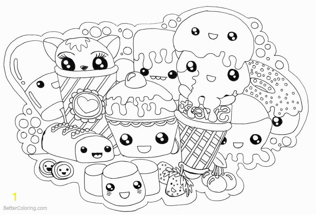 cute food coloring pages kawaii foods free printable awesome cute kawaii coloring pages