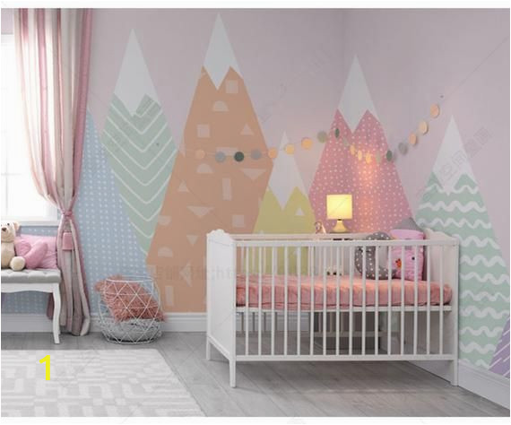 Kids Mountain Wall Mural Hand Painted Geometric Nursery Children Wallpaper Pink