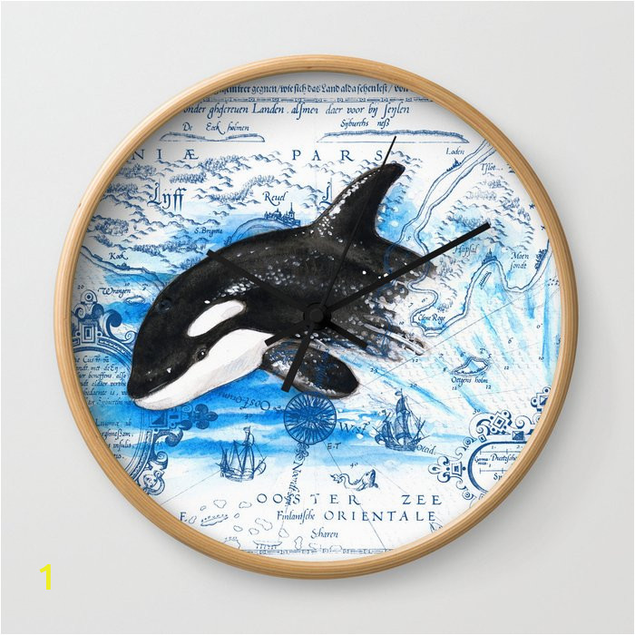 breaching baby orca watercolor blue vintage map wall clocks