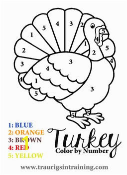 Kindergarten Thanksgiving Coloring Pages Color by Number Thanksgiving Turkey