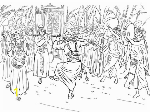 King David Coloring Pages for Kids King David Dancing before the Ark Of the Covenant Coloring