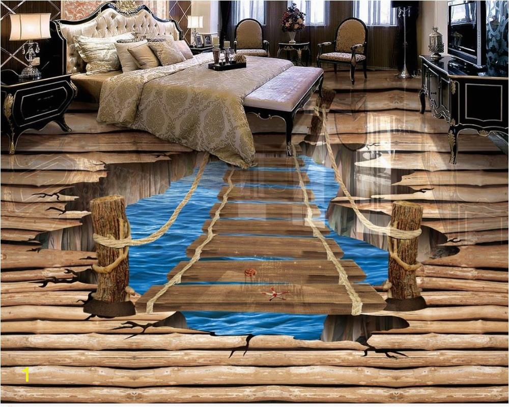 Waterproof floor mural painting lake ladder 3D wallpaper 3d floor murals PVC waterproof floor Home Decoration
