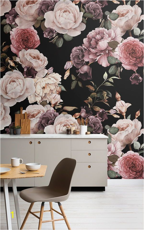 Large Floral Wall Mural Purple and Pink Dark Floral Wallpaper Mural