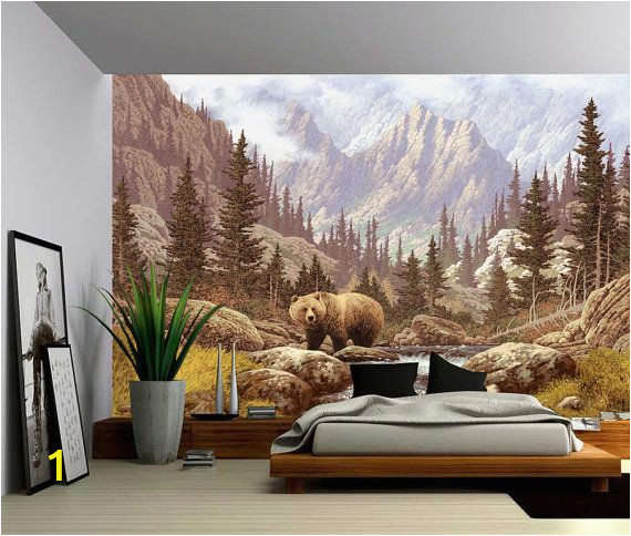 Large Wall Mural Decals Grizzly Bear Mountain Stream Wall Mural Self