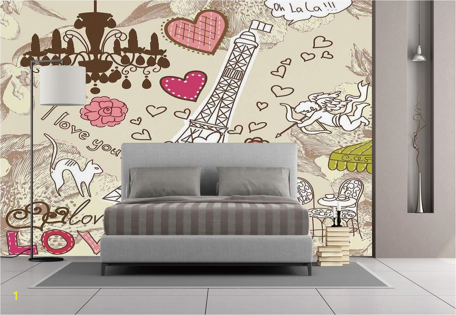 Large Wall Mural Stickers Amazon Wall Mural Sticker [ Paris Decor Doodles