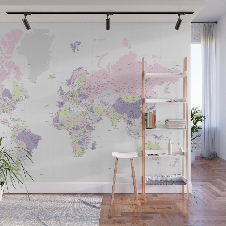 pastels world map highly detailed adventure awaits wall murals