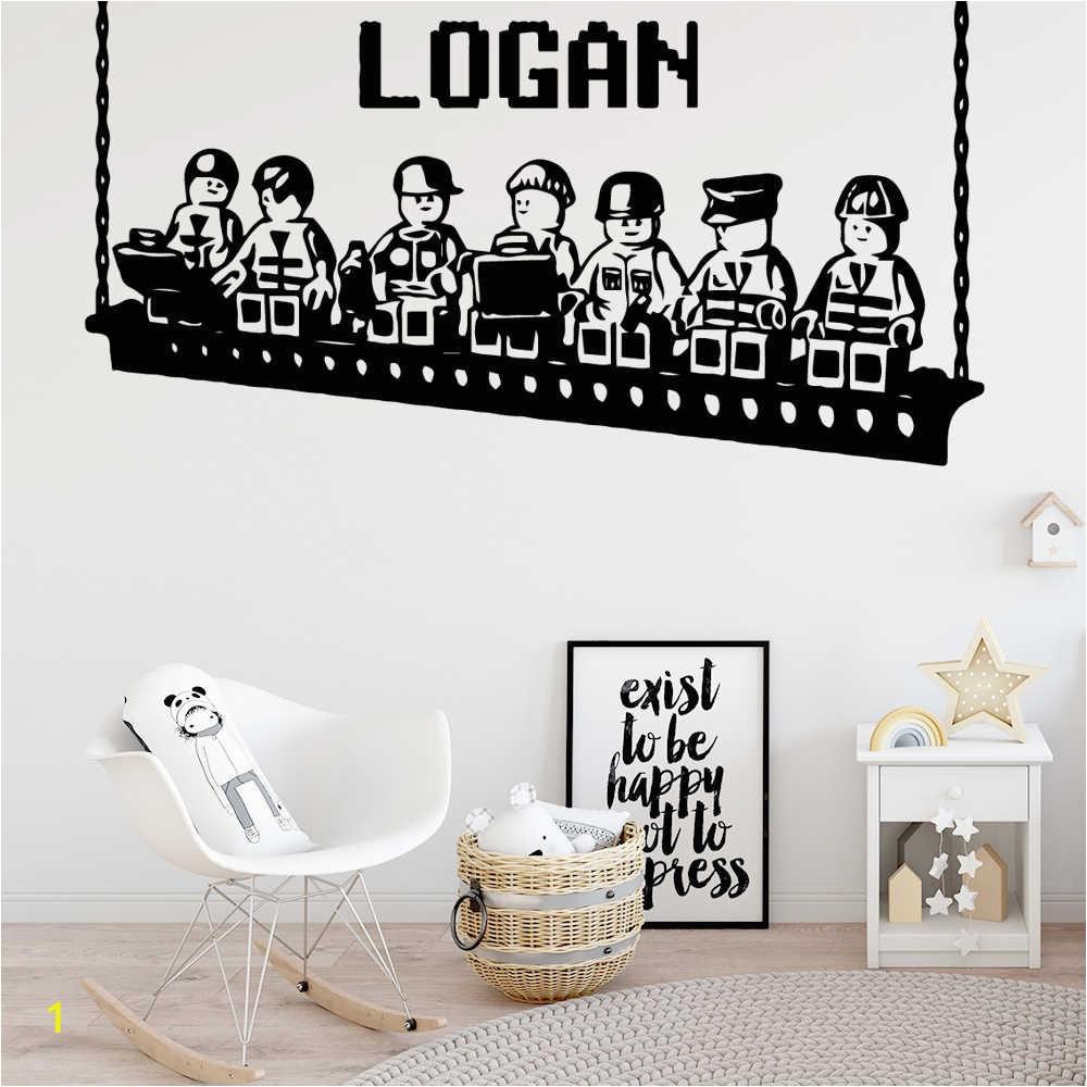 Custom Name Lego Swing Vinyl Wallpaper Wall Stickers Decoration Kids Rooms Bedroom Wall Decals Murals muursticker q50