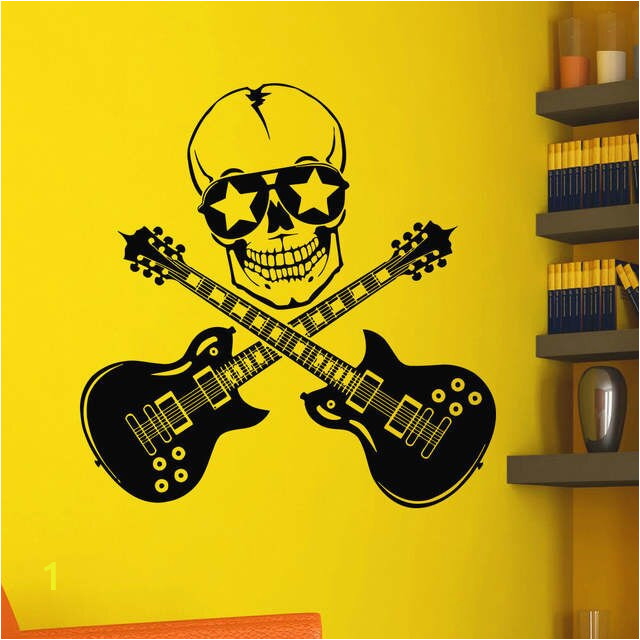 POOMOO Wall Decals Wall Vinyl Decals Music Skull Guitars Rock Decal Sticker Home Art Mural 22x22inch 640x640q70