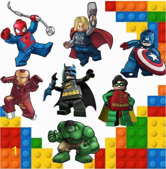 Lego Superhero Wall Mural Super Heroes Lego Marvel Kids Bedroom Vinyl Decal Wall Art