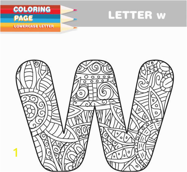 adult coloring book lower case letters hand drawn template vector id