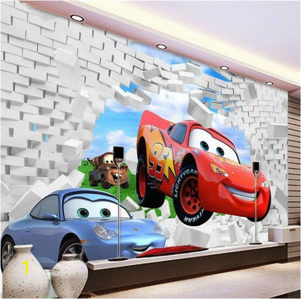 Lightning Mcqueen Wall Murals Uk 3d Cars Mcqueen Broken Wall Pattern Custom Wallpaper Mural