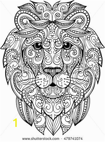 Lion Head Coloring Pages Hand Drawn Doodle Zentangle Lion Illustration Decorative