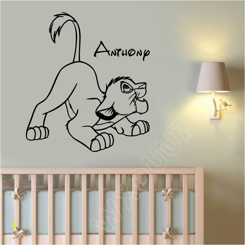 WXDUUZ Custom Name Decal Simba Lion King Art Decor Room quote Home Decor Vinyl Wall Sticker