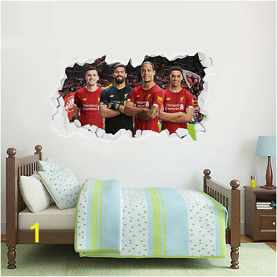 liverpool fc wall sticker defensive four smashed wall mural badge decal set