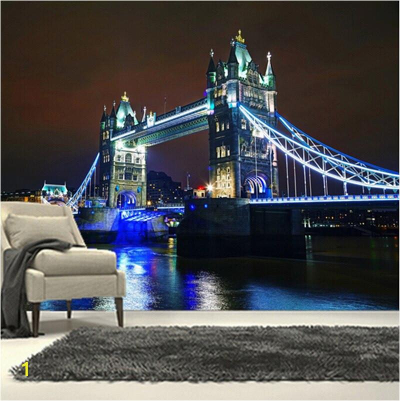 Niestandardowe 3D du y mural most London Bridge pod pi knym wiat a w nocy pok