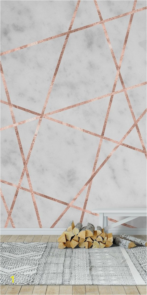 Marble Effect Wall Mural White Marble Rose Gold Geo 1 Wall Mural Wallpaper Art