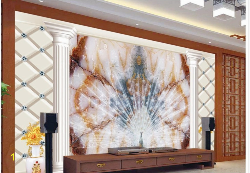 3d wallpaper custom mural peacock window mural wallpaper Marble the peacock Home Decoration 3d wall murals