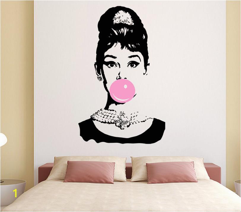 Audrey Hepburn Bubble Gum Beauty Hair Salon Wall Decal Sticker Art Vinyl Home Decor Wall Sticker