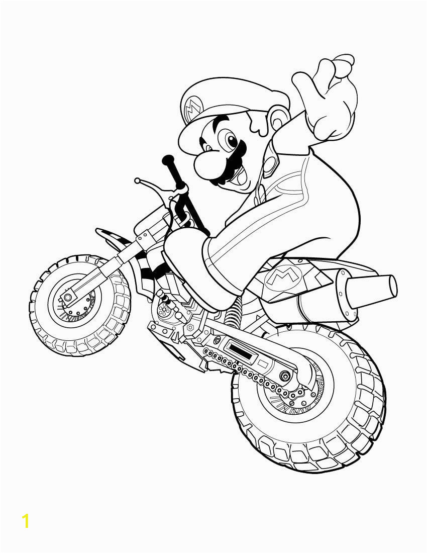Mario Motorcycle Coloring Pages Super Mario Coloring Pages 01