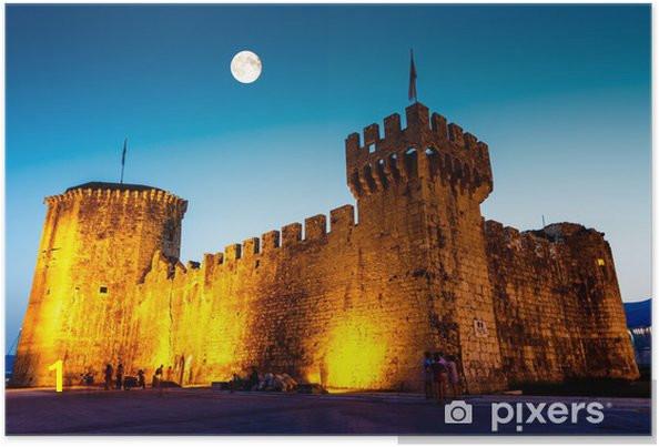posters full moon above me val castle of kamerlengo in trogir croatia